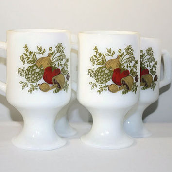 Spice of Life Set of Four Milk Glass Mugs, Coffee Cups, Corning Ware