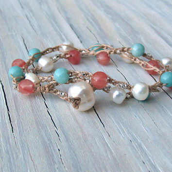 Crochet Beachy Boho Bracelet, Pearls, Carnelian, Crochet Double Wrap, Valentines Day, Gifts for Her, Gifts under 30, Teens
