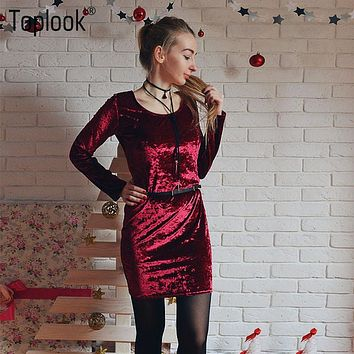 Toplook 2017 Spring Elegant Ladies Velvet Dress Pink Womens Sexy Winter Dresses Party Night Club Women Bodycon Dress Plus Size