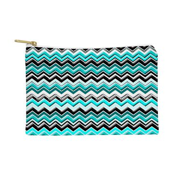 Madart Inc. Turquoise Black White Chevron Pouch