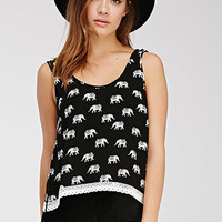 Crochet-Trimmed Elephant Print Top