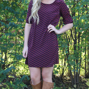 Maroon and Black Chevron Bow Back Tunic Dress