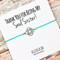 "Silver or Gold Charm Friendship Bracelet with ""Soul Sister"" Card 