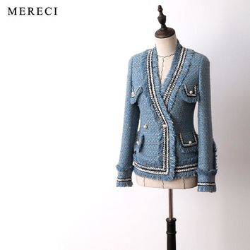 New arrival women fashion elegant heavy tweed jacket V-neck chains tassel pockets pearls button work wear formal outerwear blue