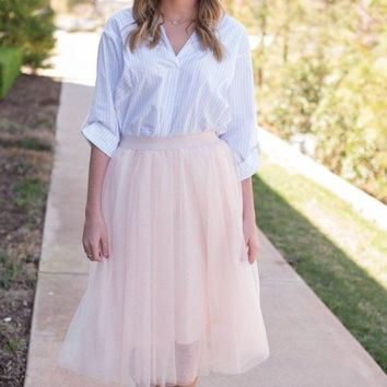 Emma Tulle Midi Skirt - Blush