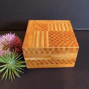Vintage Wood Box, Wooden Mosaic Inlay Box, Fabric Lined, Handmade Bohemian Box