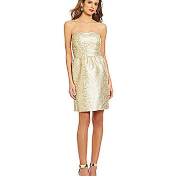 Gianni Bini Sandy Metallic Jacquard A-Line Dress - Gold