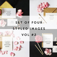 Set of 4 - Styled Stock Photography - Design Mock Up for Card & Invitation -  Pink Rose Petals and Blank Card on White Desktop Vol #2