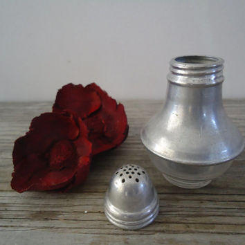 One Lonely Vintage Salt Shaker Aluminum and Clear Glass