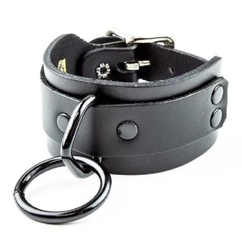 "Black 1"" O-Ring Leather Wristband Cuff Bracelet w/ Buckle Closure"