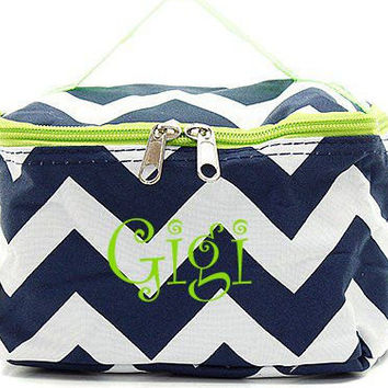 Navy and Lime Chevron Monogrammed Cosmetic Bag  Chevron Cosmetic Bag  Monogrammed Makeup Bag