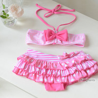 cute baby girls swimwear girl two pieces model pink plaid and bow-knot  2-8Y swimsuit for kid/children swimming Suit sw0609