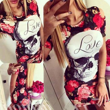 CREYONC. Summer 2017 ukraine new quick sell through the section of the skulls printed rose hip tuxed mini women dress vestidos vadim