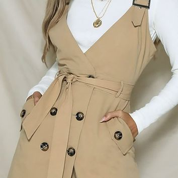 Jumping Off Point Sleeveless Buckle Strap Cross Wrap V Neck Button Blazer Casual Mini Dress - 3 Colors Available