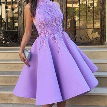 Purple High Neck Applique A Line Homecoming Dress