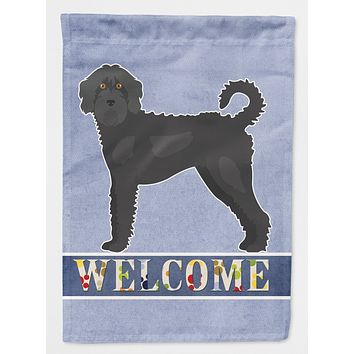 Black Labradoodle Welcome Flag Canvas House Size CK3753CHF