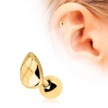 Gold Plated Faceted Teardrop Cartilage Earring