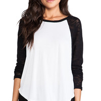 Michael Lauren Rio Raglan Top in Black & White