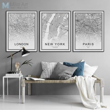 Black and White World City Map London Paris Wall Art Home Decor Nordic Posters And Prints Pictures Living Room Canvas Paintings