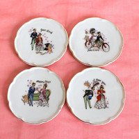 Vintage Cupid saucers set. Victorian couple prints. I love you saucer. 4 mini saucers. Valentines gift. Antique lovers. Romantic.