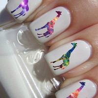 Galaxy Giraffe nail decals tattoos nail art