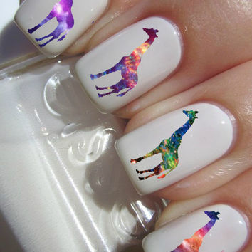 Galaxy Giraffe Nail decal Tattoos
