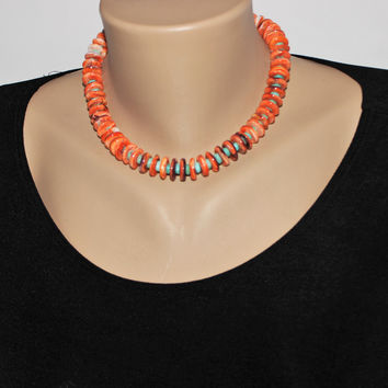 Southwest Orange Spiny Oyster and Turquoise Sterling Choker Necklace Set