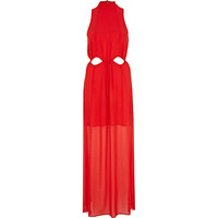 River Island Womens Red Chelsea Girl high neck cut out maxi dress