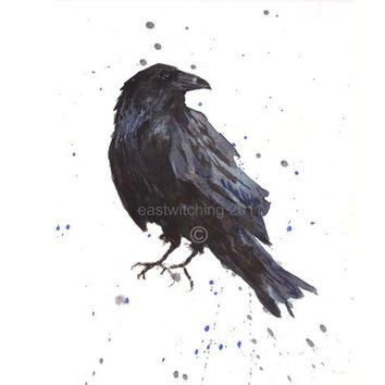 Raven Art, Raven Print, Bird Lover, raven, Bird Keepsake, Hitchcock fan