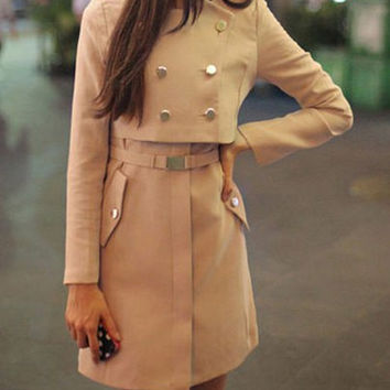 Light Khaki Button Design Long Sleeves Trench Coat