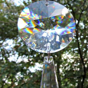 Crystal Sun Catcher, Glass Sun Catcher, 40mm Sun Disk, Asfour Crystal,  Mirror Ornament,  Mirror charm,  Crystal Gift, Yard Art,  SC 412