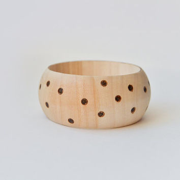 Wide Beige Polka Dot Bracelet - Pyrography Wooden Bangle- Wood Jewelry - Eco Jewelry
