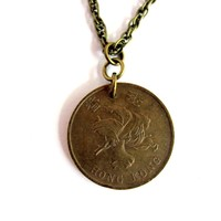 Hong Kong Coin Necklace 1994 Asian Pendant 1 Dollar Handmade Jewelry by Hendywood