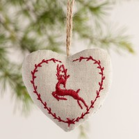 Linen Heart Stag Ornaments, Set of 2