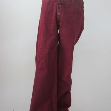 70s Maroon Low Waist Jeans by Sears JR Bazaar, M // Vintage Flared Pants
