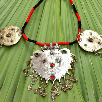 Kashmiri Necklace,Ethnic Tribal Necklace,Boho Jewelry,Belly Dance Necklace,Antique,Afghan Kuchi,Hippie,Festival Necklace,Gypsy Boho Necklace