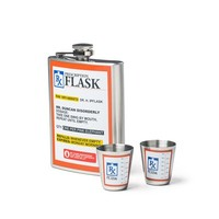 RX Flask Gift Set - Includes Flask and Matching Shot Glasses