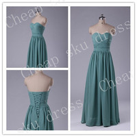 New Style Custom Made A-line Sweetheart Chiffon Sexy Lace-up Long Bridesmaid Dress Party Dress Evening Dress Prom Dress Formal Dress 2014