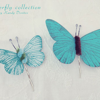 Butterflies hair pin set, Butterflies hair clip Bridal Bridesmaid hair. Butterfly hair accesory, Teal Blue chocolate pin, Butterfly Wedding