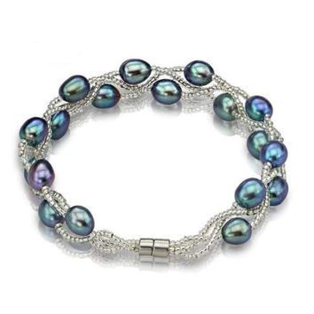 Handmade Natural Freshwater Pearl 925 Sterling Silver Bracelets Magnetic Clasp (3 colors)