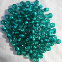 Fifty 6mm Czech Teal, Silver Lined glass pony roller beads, large hole crow beads, C6450