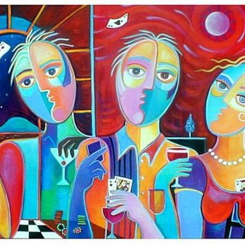 Original Cubist Contemporary Painting Poker Game by MarlinaVera