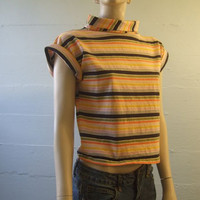 1960s Vintage Tee / Mod Tshirt / Pullover Blouse / Cap Sleeves / Stripes / Size Medium