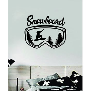 Snowboarding Mountain Trees Goggles Wall Decal Sticker Vinyl Art Bedroom Room Home Decor Teen Baby Boy Girl Nursery Sports Snow Board Winter