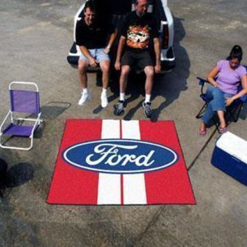 FORD Sports -  Ford Oval with Stripes Tailgater Rug 5'x6' - Red