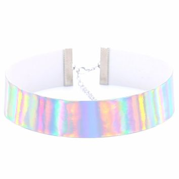 Trendy Holographic Choker Necklace Women 2017 PU Leather Chocker Handmade Laser Chocker Rainbow Punk Gothic Necklace
