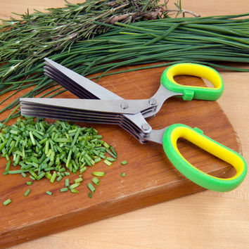 Evelots® Herb Kitchen Scissors With 5 Blades Dicing Chopping Vegetables