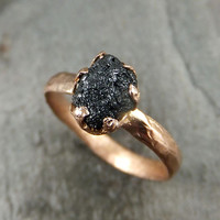 Raw Diamond Solitaire Engagement Ring Rough Uncut gemstone Rose gold Conflict Free Black Diamond Wedding Promise byAngeline