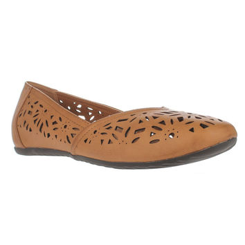 Easy Street Charlize Cutout Ballet Flats - Camel