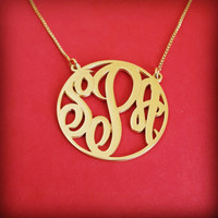 Monogram Necklace Double Thickness Gold Monogram Necklace Monagram Necklace Monogram Gold Monogrm Necklace Gift For Woman Jewelry Gold